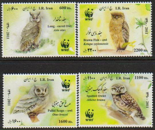 Scott #3050-53, WWF, Native Owls, set of 4, Dec. 14 <p><a href=&quot;/images/Iran-Scott-3050-3053.jpg&quot;><font color=green><b>View the image</b></a></font>